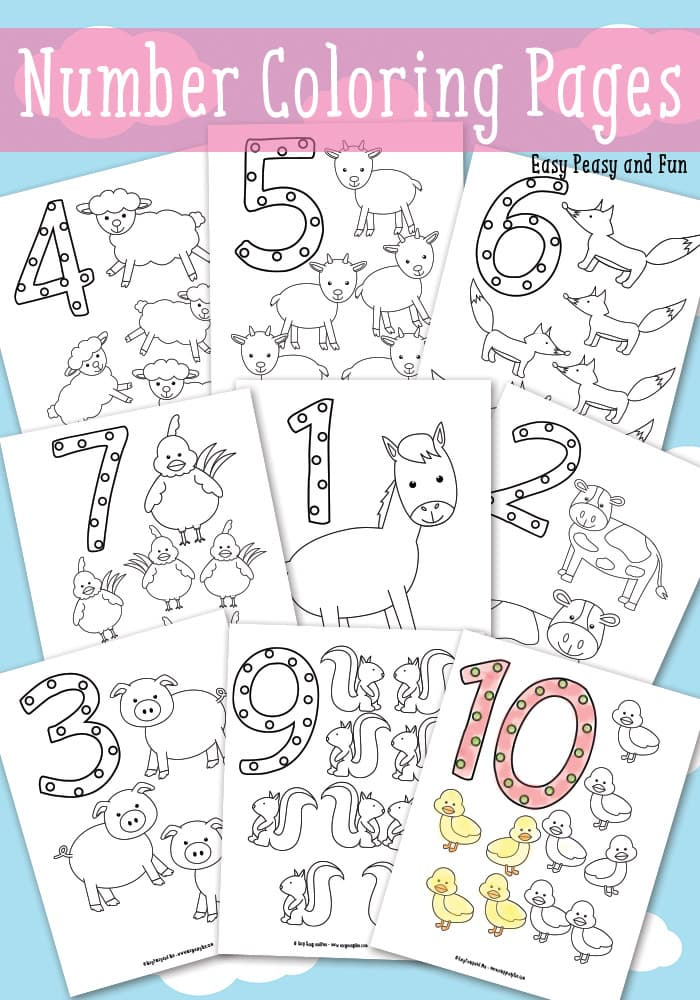 Animals Counting Numbers Coloring Pages