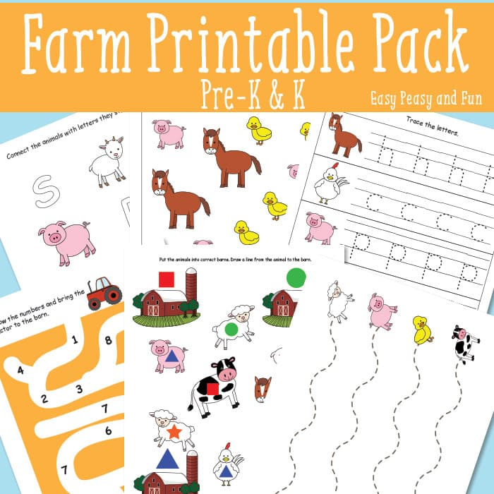 Farm Worksheets For Kindergarten : Farm printables for kids easy peasy and fun
