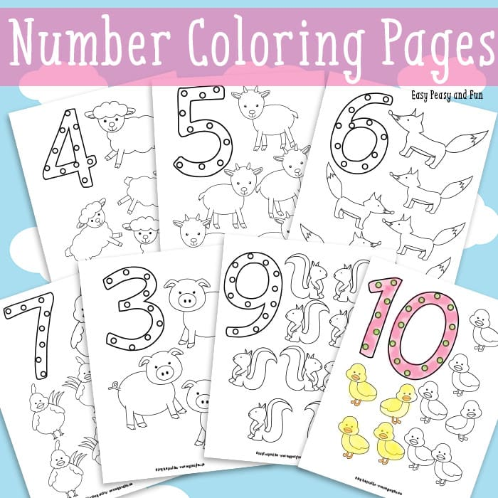 Number Coloring Pages Free Printable