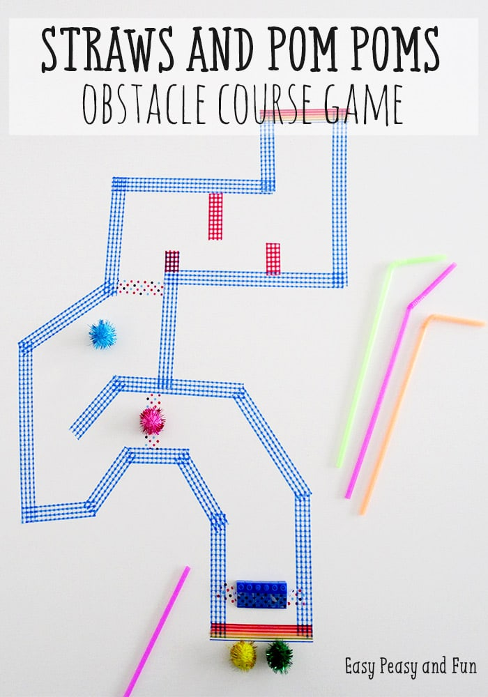 Pom Poms and Straws Obstacle Course Game