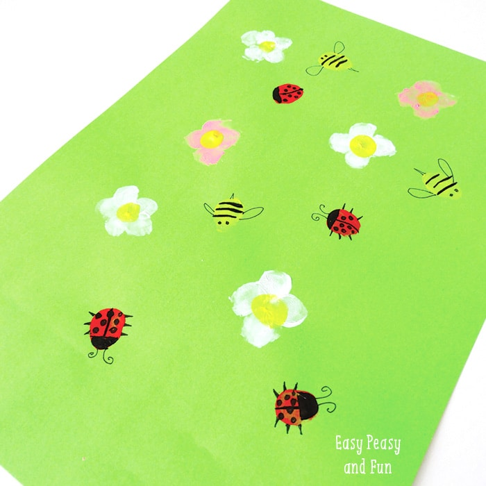 Spring Meadow Finger Painting Kids Art