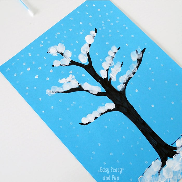 winter tree finger painting quick art project for kids easy