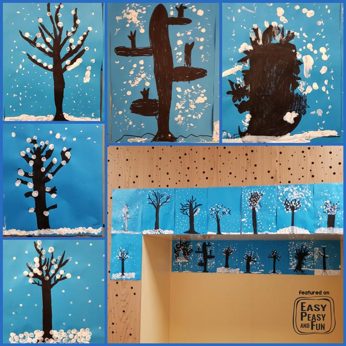 Wonderful Winter Art Idea - Winter Tree With Finger Painting - Perfect for Preschool, Kindergarten and older kids