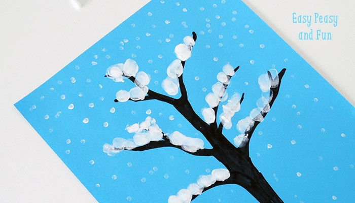 Winter Tree Finger Painting Quick Art Project For Kids