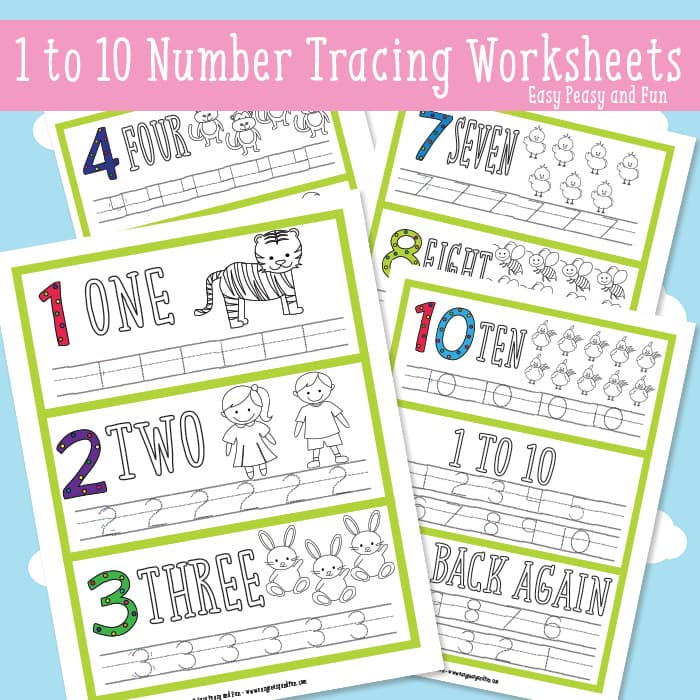 Simple Number Tracing Worksheets - Easy Peasy and Fun