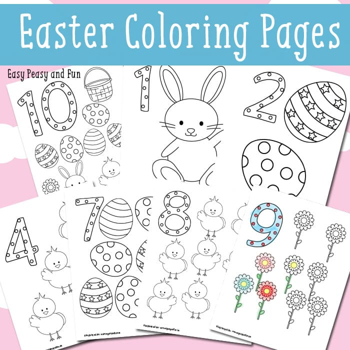 Easter Counting Coloring Pages - Easy Peasy and Fun