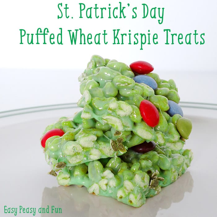St Particks Day Puffed Whear Krispie Treats