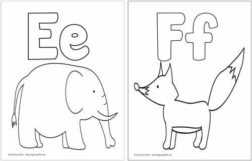 E and F Letter Coloring Pages