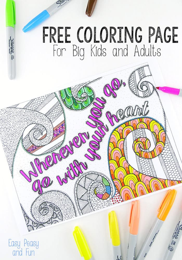 - Free Coloring Page For Adults - Easy Peasy And Fun