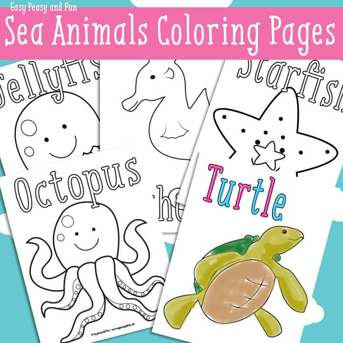 Ocean and Sea Animals Coloring Pages {Free Printable} - Easy Peasy ...