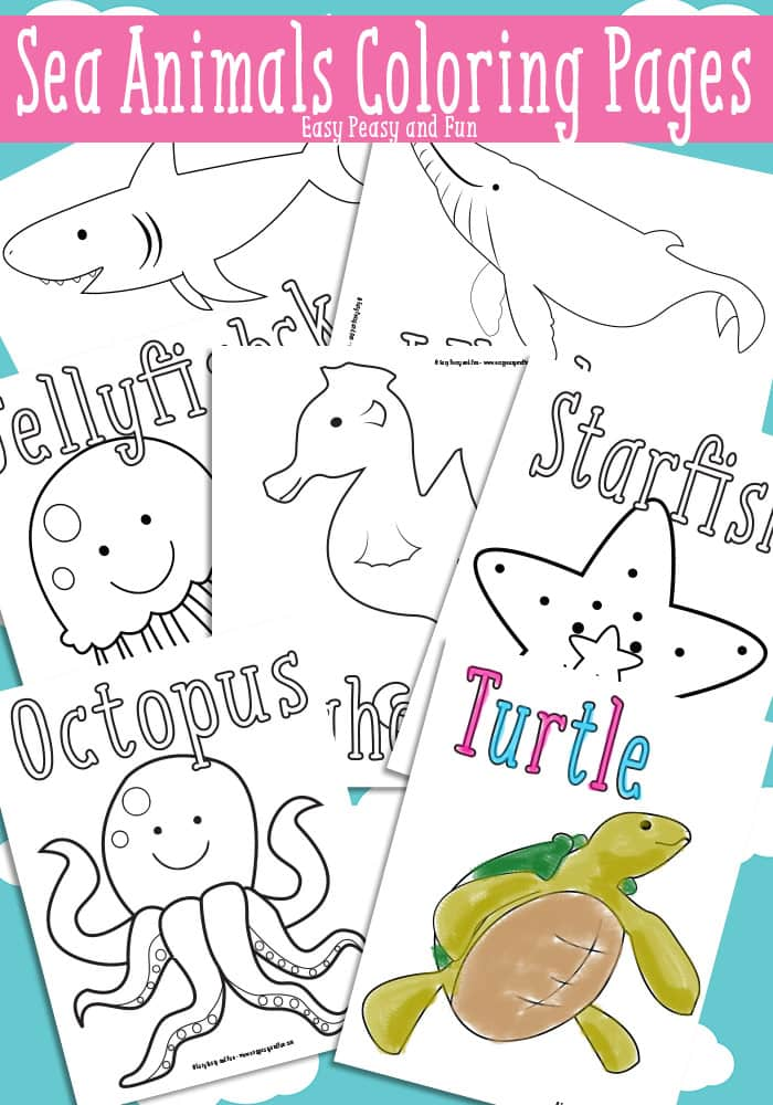 Ocean And Sea Animals Coloring Pages Easy Peasy