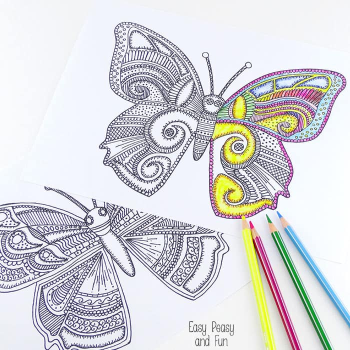 Butterfly coloring pages for adults easy peasy and fun for Coloring pages of butterflies for adults