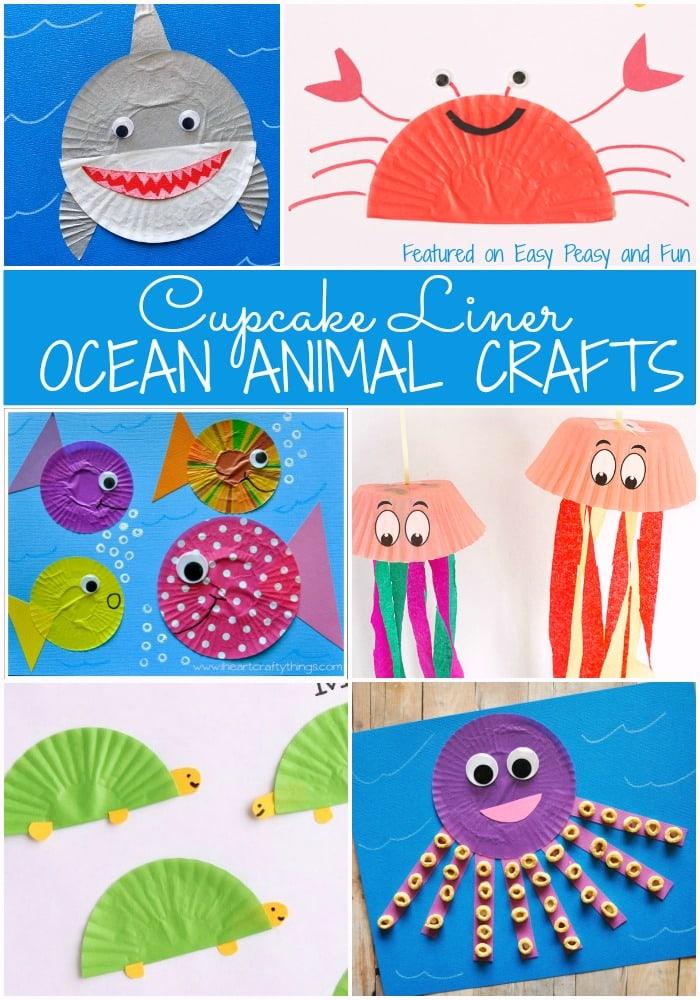 Ocean Animal Cupcake Liner Crafts Easy Peasy And Fun