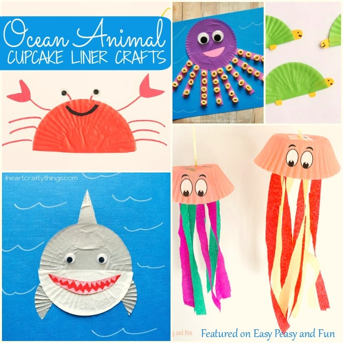 Ocean Animal Cupcake Liner Crafts - Easy Peasy and Fun