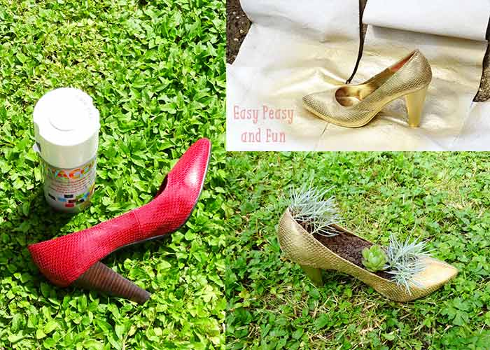 DIY Shoe Flower Pot