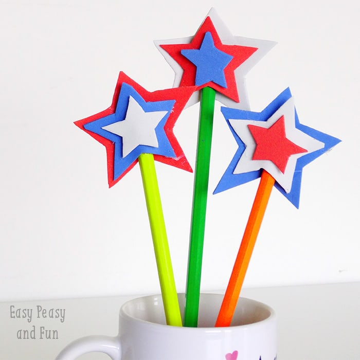 USA Star DIY Pencil Topper - Easy Peasy and Fun