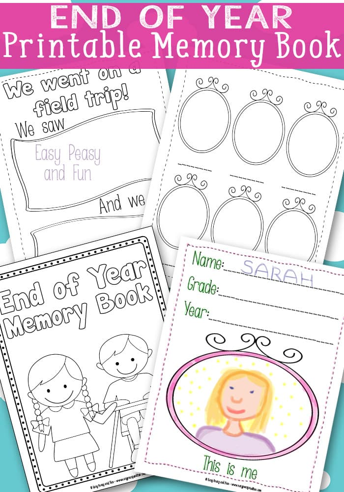 End Of The Year Coloring Pages For Kindergarten : End of year memory book free printable easy peasy and fun