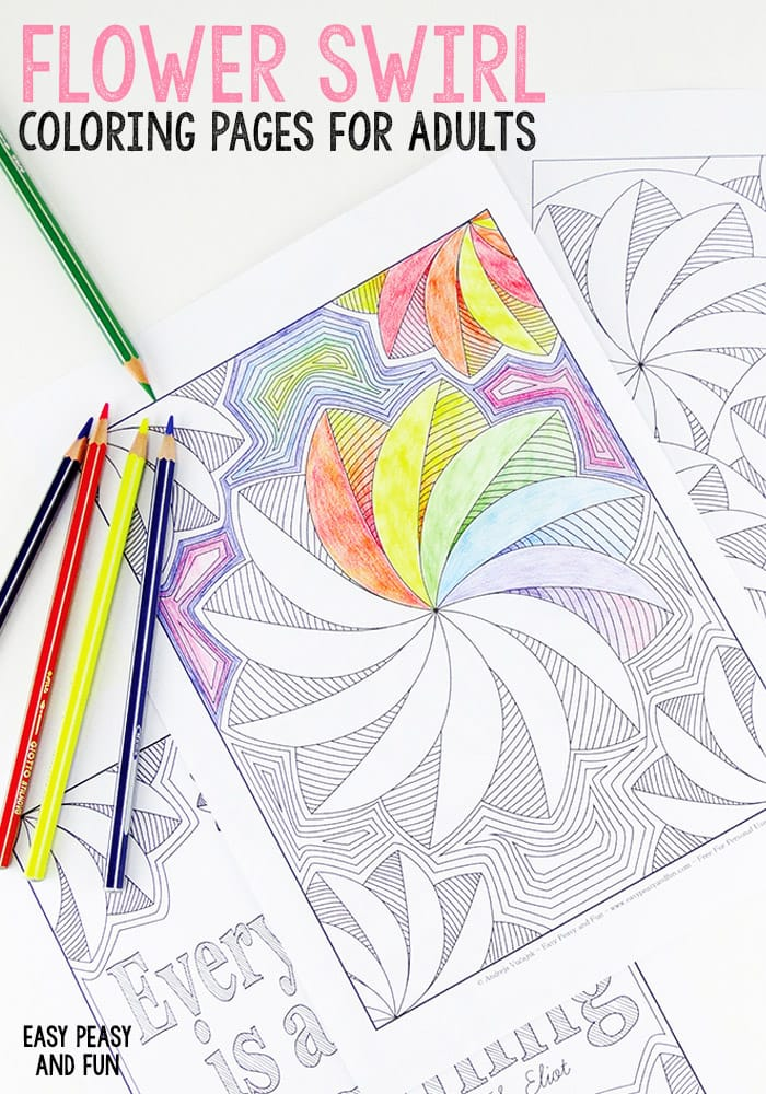 3 Flower Swirl Coloring Pages for