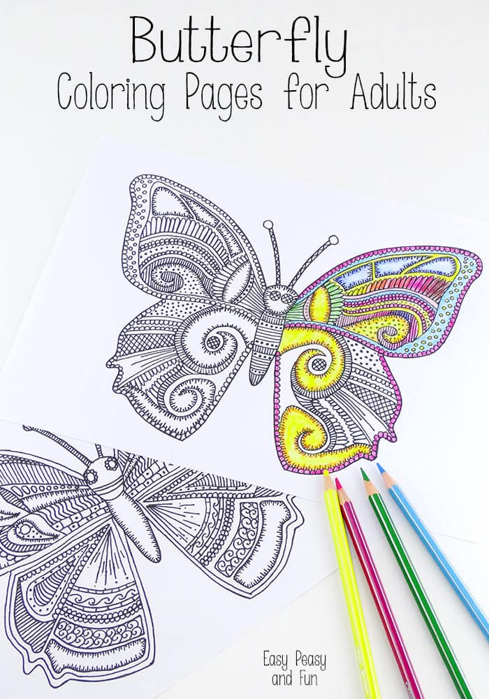 Butterfly Coloring Pages for Adults - Easy Peasy and Fun