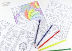 3 Flower Swirl Coloring Pages for Adults