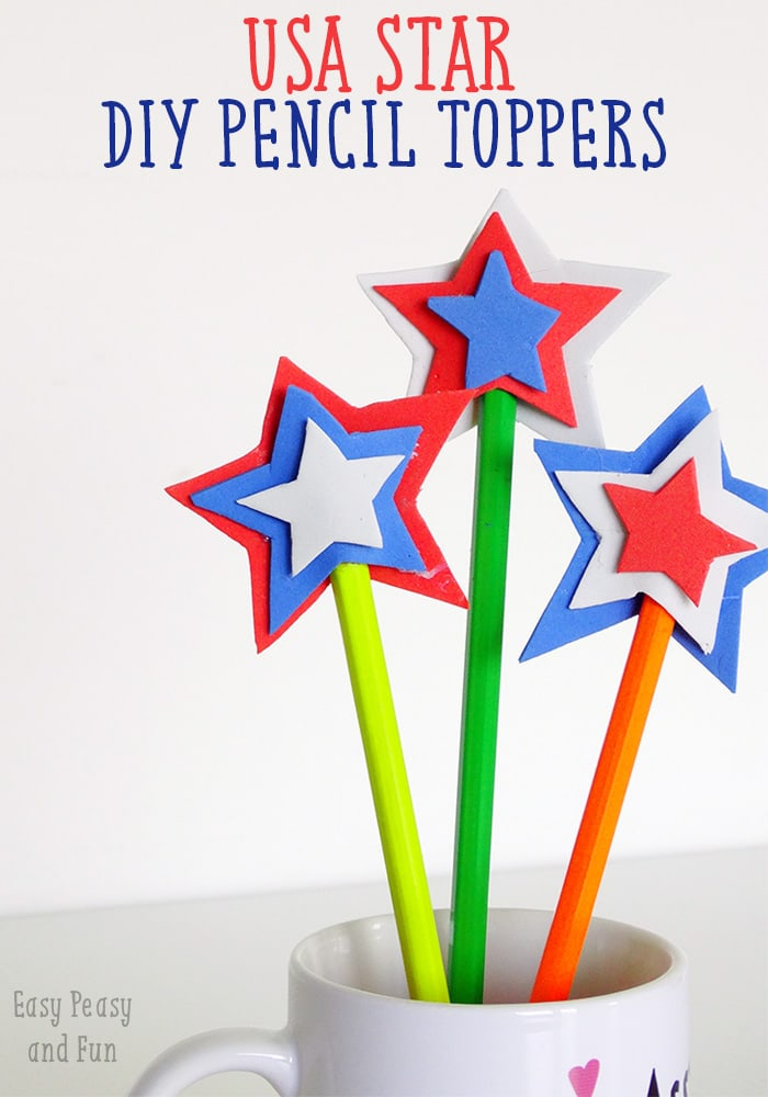 USA Star DIY Pencil Toppers