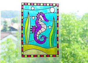 Faux Stained Glass Seahorse Suncatcher