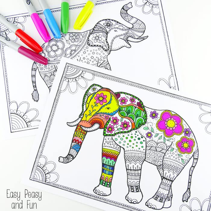 free elephant coloring pages for adults - Coloring Pages Indian Elephants