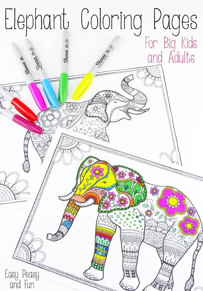 picture regarding Elephant Coloring Pages Printable named Absolutely free Elephant Coloring Internet pages for Grownups - Very simple Peasy and Entertaining