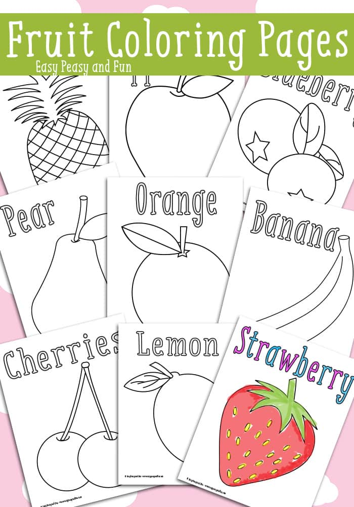 Fruit coloring pages free printable easy peasy and fun for Printable fruit coloring pages