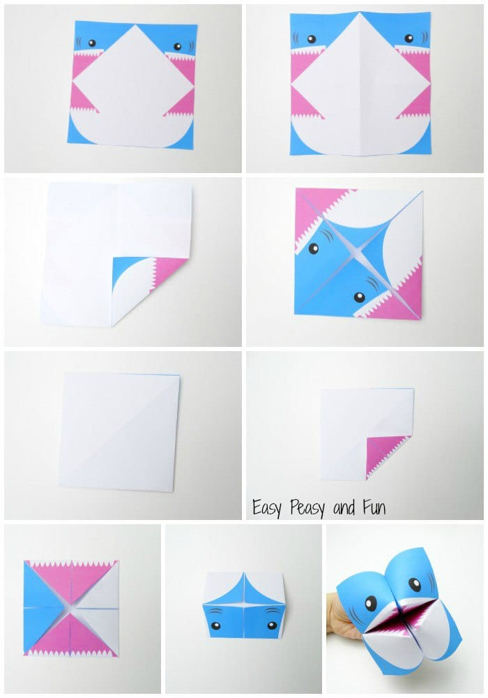 photograph relating to Printable Cootie Catcher Template called Shark Cootie Catcher - Origami for Little ones - Straightforward Peasy and Entertaining