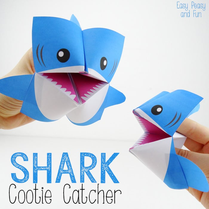 Shark cootie catcher origami for kids easy peasy and fun for Art and craft with paper easy