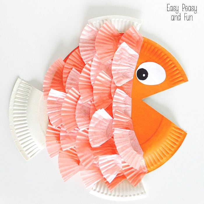 Paper Plate Cupcake Liner Fish Easy Peasy And Fun