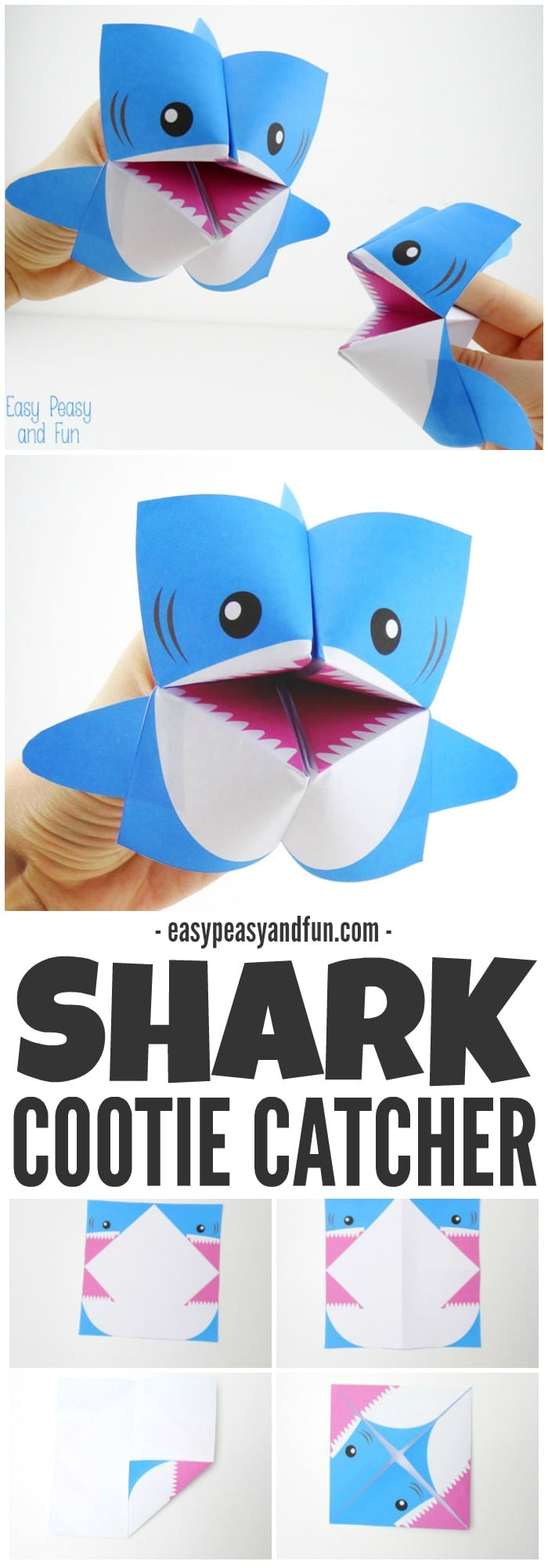 photo regarding Cootie Catcher Printable known as Shark Cootie Catcher - Origami for Children - Straightforward Peasy and Enjoyment