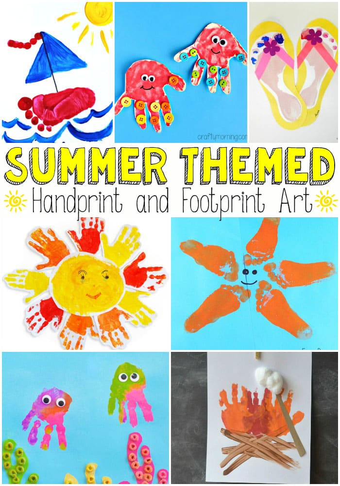 summer themed handprint and footprint art easy peasy and fun