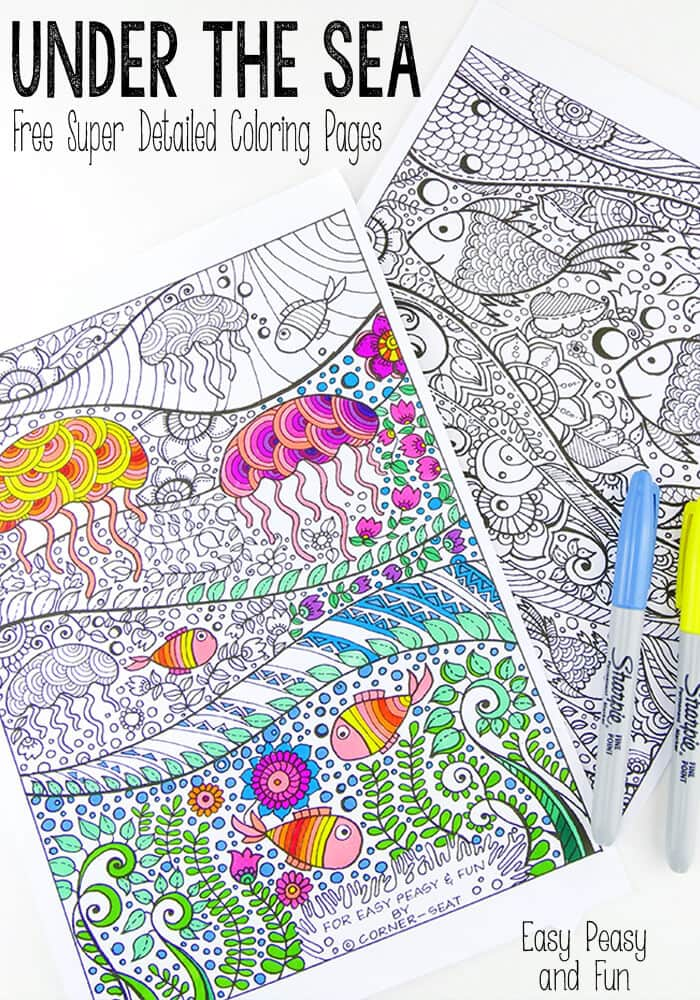 Under the Sea Coloring Pages for Adults - Grab this free printable and take your mind on a colorful vacation!