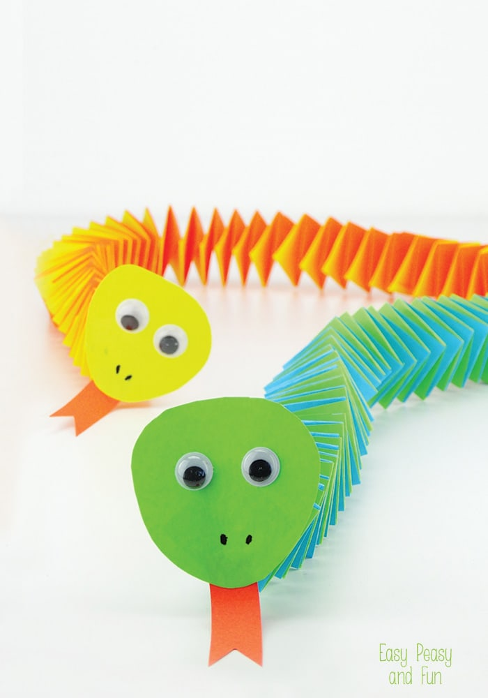 Marvelous Easy Craft Ideas For Kids With Paper Part - 3: Accordion Paper Snake Craft - Simple And Fun Craft For Kids A Perfect Intro  To Origami