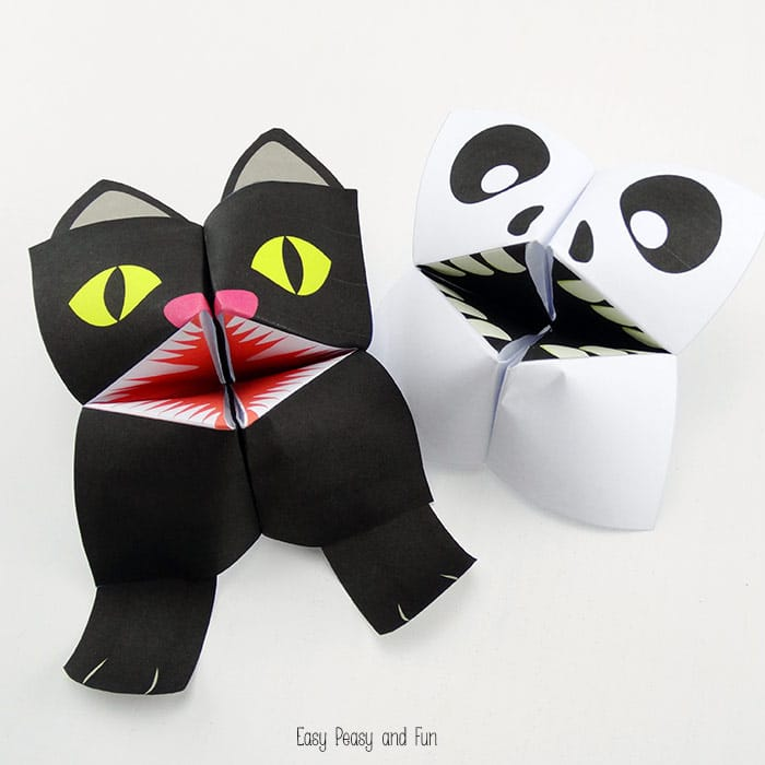 Black Cat & Skeleton Halloween Cootie Catchers