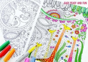 Birds and Giraffes Coloring Pages for Grown Ups
