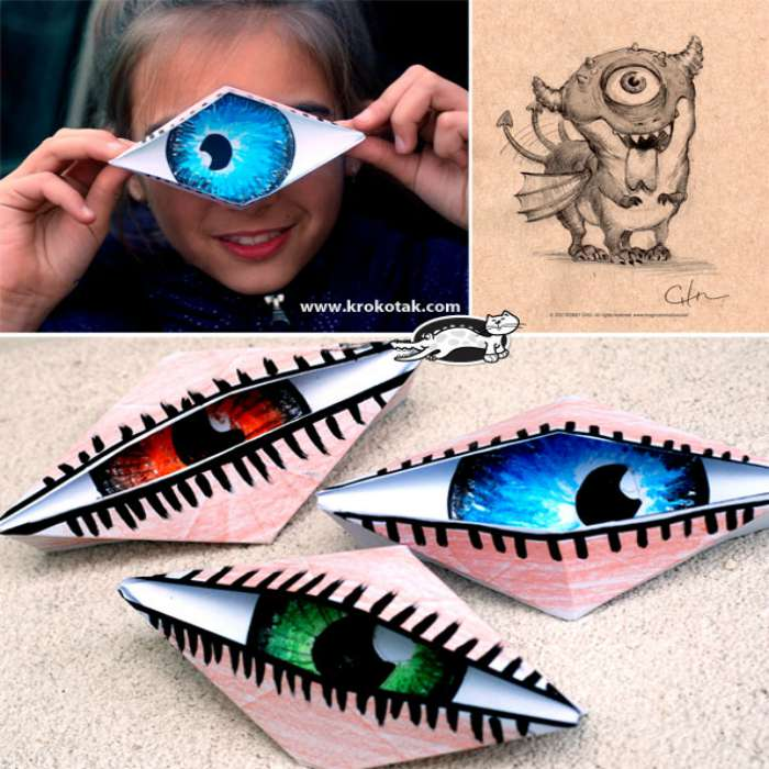 Halloween origami for kids easy peasy and fun for Cyclops mask template