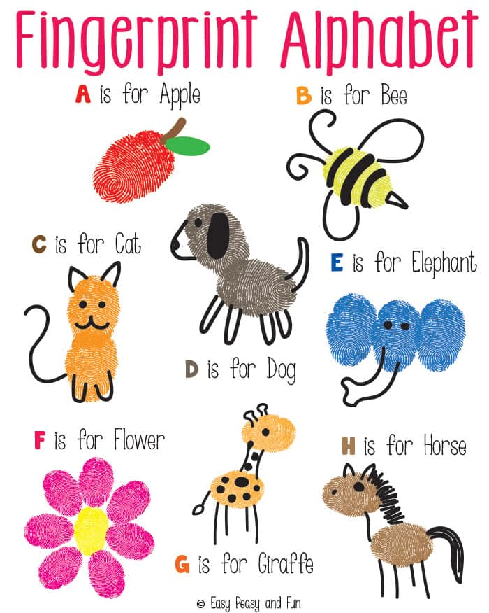 Fingerprint Alphabet Art on Farm Animal Worksheets