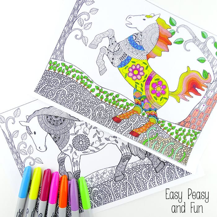 - Intricate Horses Coloring Pages For Adults - Easy Peasy And Fun