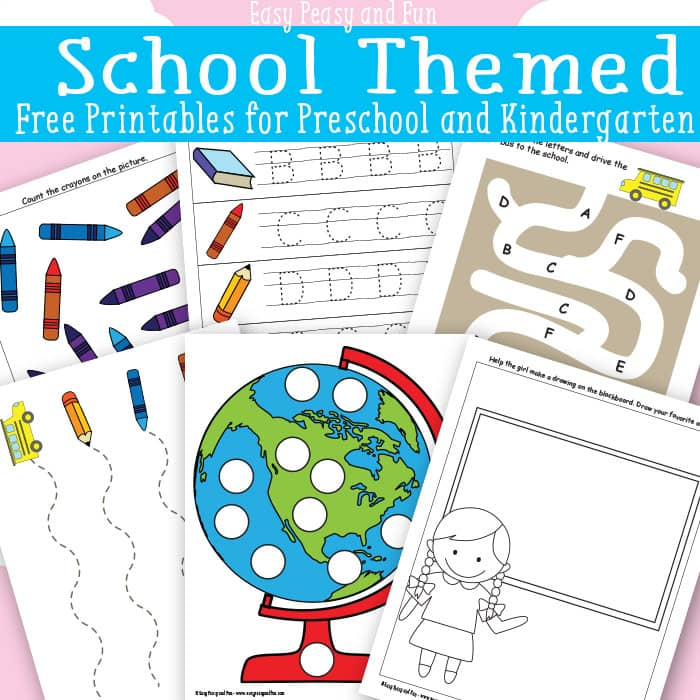School Themed Printables for Preschool - Easy Peasy and Fun