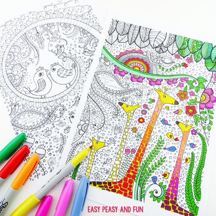 Birds and Giraffes Coloring Pages for Grown Ups - Easy Peasy ...
