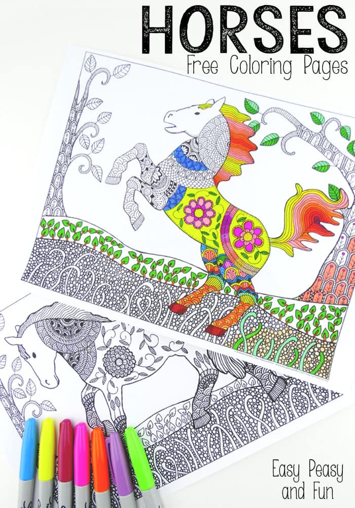 Free Horses Coloring Pages for Adults - Lots of fun for kids and grown ups!