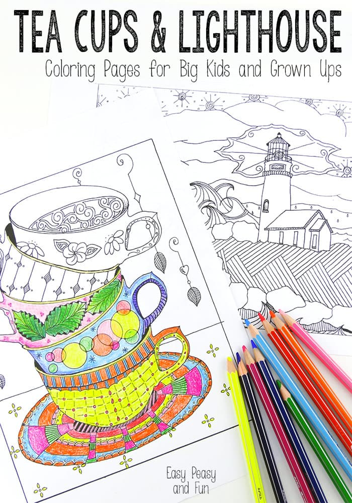 Tea Cups and Lighthouse Coloring Pages for big kids and adults!