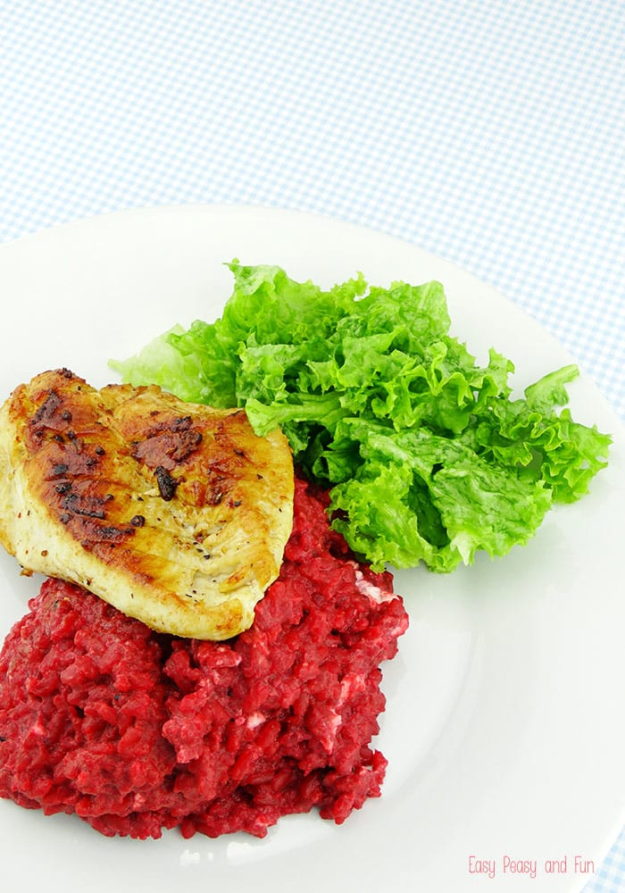 Beets Risotto With Grilled Chicken Recipe