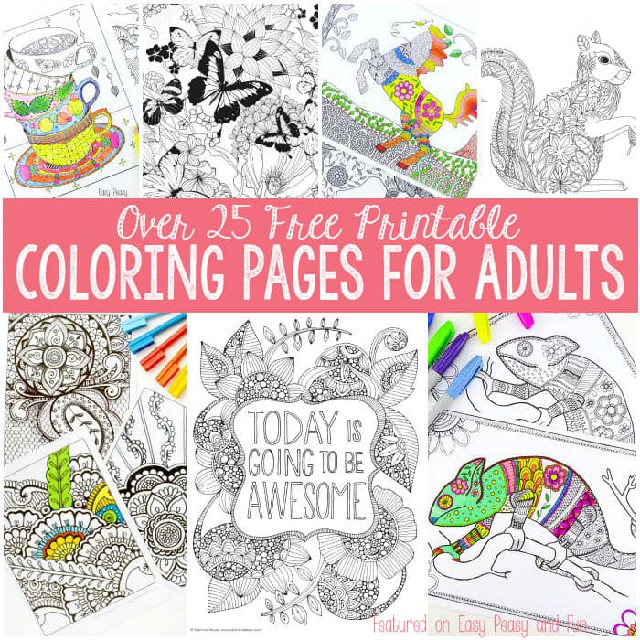 free coloring pages for adults easy