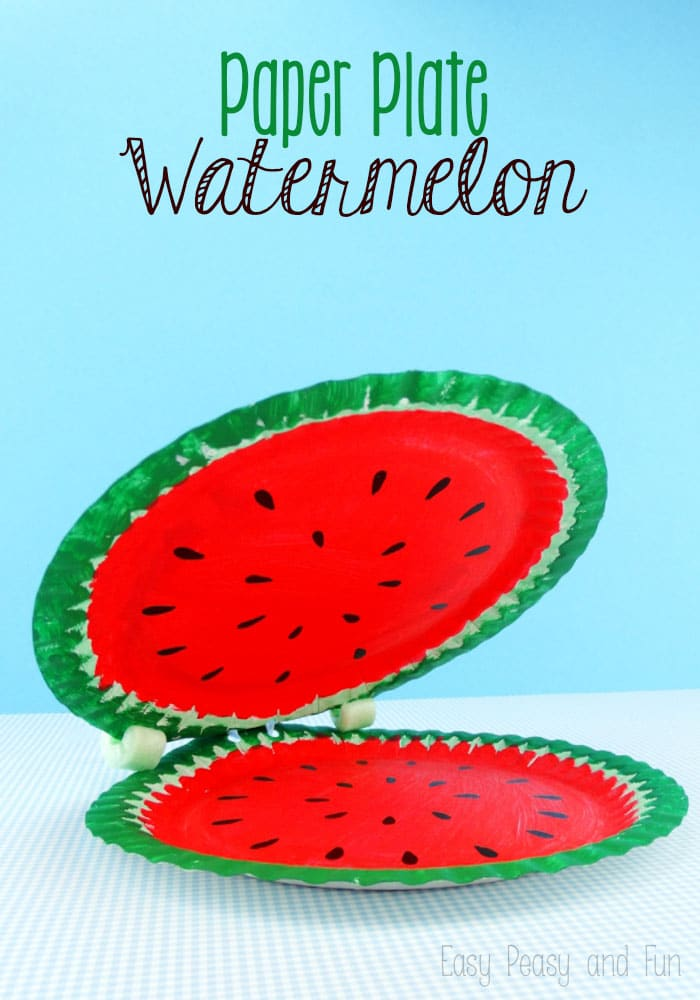 Paper Plate Watermelon - A fun paper plate craft for kids to make!  sc 1 st  Easy Peasy and Fun : crafts from paper plates - Pezcame.Com