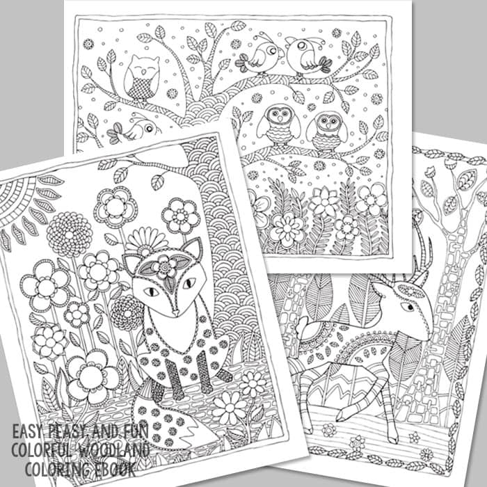 Deer Owls and Fox Coloring Pages for Grown Ups