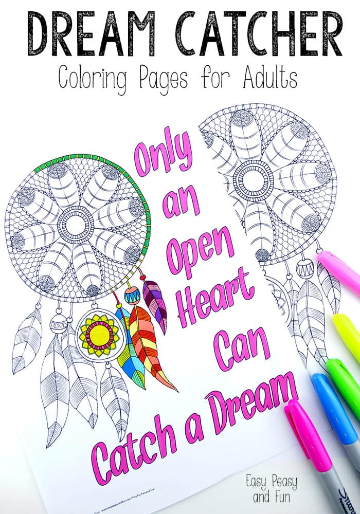 Dream Catcher Coloring Pages for Adults Easy Peasy and Fun